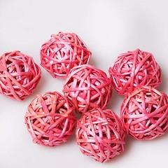Шар из ротанга розовый  5см 1 шт., 100700