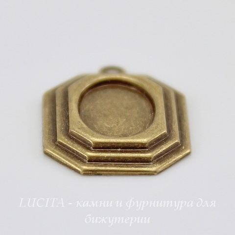 Сеттинг - основа - подвеска для камеи или кабошона 8х6 мм (оксид латуни) ()