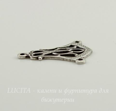 Винтажный декоративный элемент - коннектор (1-2) 18х14 мм (оксид серебра)