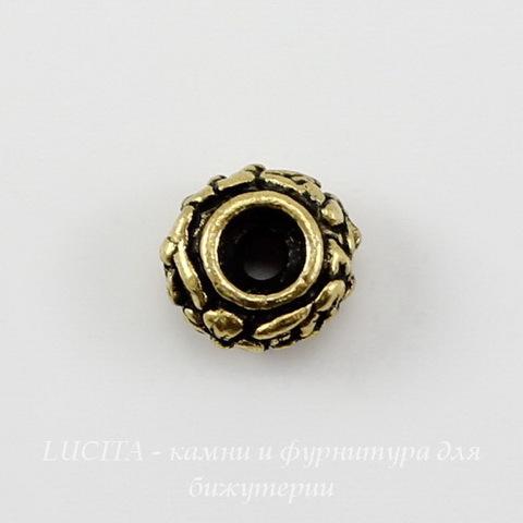 """Бусина - рондель TierraCast """"Цветочки"""" 6х3,5 мм (цвет-античное золото) ()"""