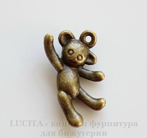 """Подвеска """"Игрушечный медведь"""" 3D (цвет - античная бронза) 19х11 мм"""
