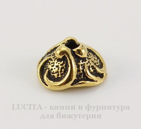 """Шапочка для бусины TierraCast """"Лилия"""" (цвет-античное золото) 7х4 мм"""