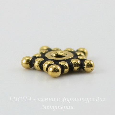 """Бусина - спейсер TierraCast """"Звездочка"""" 8х1,5 мм (цвет-античное золото) ()"""
