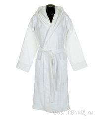 Халат велюровый с капюшоном Roberto Cavalli Logo белый