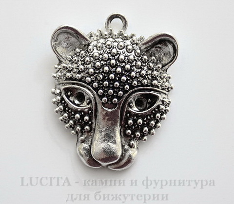 "Подвеска ""Леопард"" (цвет - античное серебро) 47х37 мм"