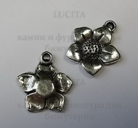 "Подвеска ""Цветок"" 15 мм (цвет - античное серебро) ()"