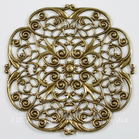 """Винтажный декоративный элемент - филигрань """"Прекрасный цветок"""" 47х47 мм (оксид латуни)"""