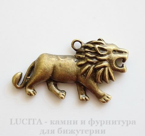 "Подвеска ""Лев"" (цвет - античная бронза) 48х26 мм"