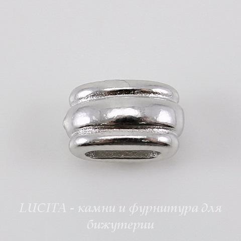 """Бусина для шнура 6х2 мм TierraCast """"Deco Barrel"""" (цвет-платина) 11х6х6 мм"""
