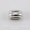 """Бусина для шнура 6х2 мм TierraCast """"Deco Barrel"""" 11х6х6 мм (цвет-платина) ()"""