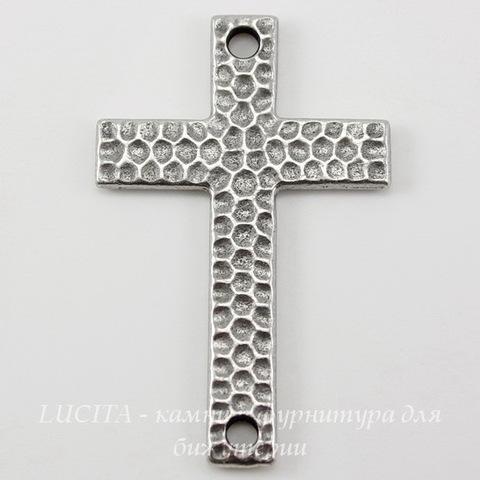 "Коннектор (1-1) TierraCast ""Крест"" (цвет-античное серебро) 40х26 мм"