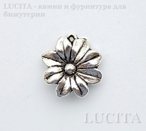 """Подвеска - коннектор """"Цветок"""" (цвет - античное серебро) 18 мм ()"""