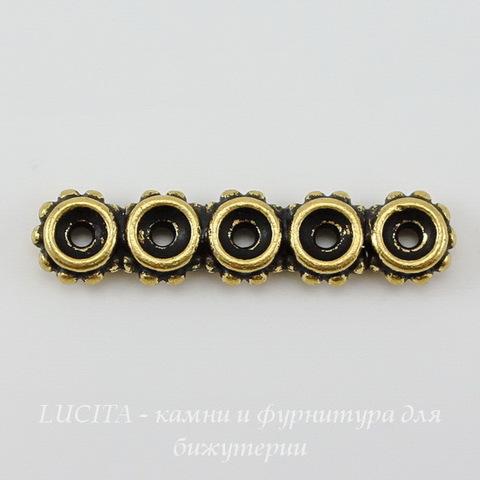 Разделитель на 5 нитей TierraCast (цвет-античное золото) 27х6х3 мм ()