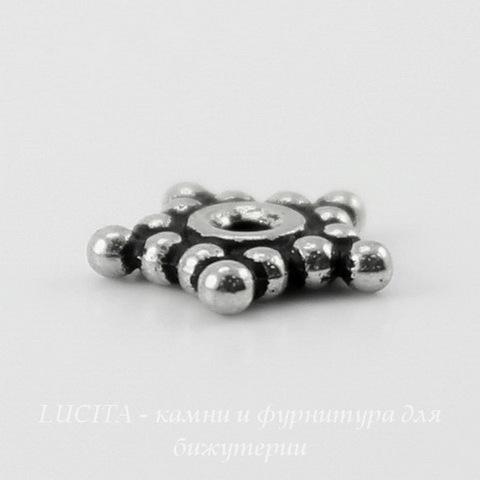 "Бусина - спейсер TierraCast ""Звездочка"" 8х1,5 мм (цвет-античное серебро) ()"
