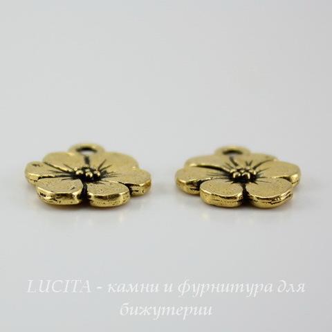 """Подвеска TierraCast """"Цветок"""" (цвет-античное золото) 17х14 мм ()"""