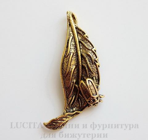 """Подвеска """"Листок с жуком"""" (цвет - античное золото) 45х19 мм"""