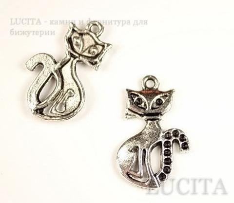 "Подвеска ""Кошка"" (цвет - античное серебро) 26х16 мм ()"