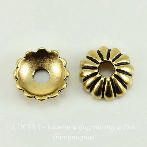 Шапочка для бусины TierraCast (цвет-античное золото) 9х3 мм ()