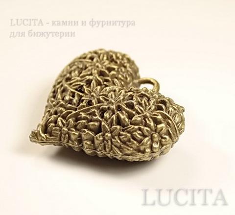 "Подвеска ""Сердце в цветах"" 3D (цвет - античная бронза) 41х33х14 мм ()"