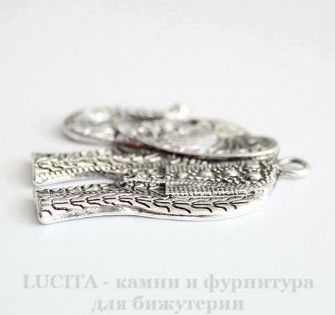 "Подвеска ""Слон"" (цвет - античное серебро) 47х44 мм ()"