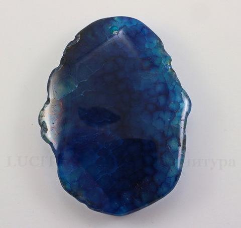 Подвеска Агат (тониров) (цвет - темно-синий) 56х42х9,3 мм №36 ()