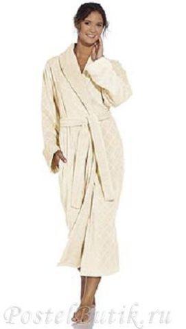 Элитный халат махрово-велюровый Doreena белый от Vossen