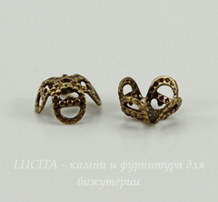 Винтажный декоративный элемент - шапочка 8х4 мм (оксид латуни)