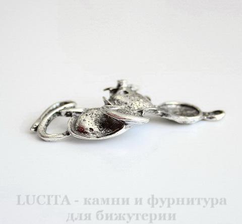 """Подвеска """"Мышонок"""" (цвет - античное серебро) 49х30 мм"""