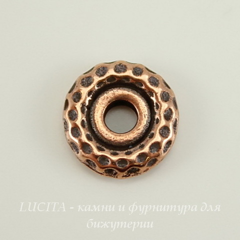 "Бусина - спейсер TierraCast ""Hammertone"" 9х2 мм (цвет-античная медь) ()"