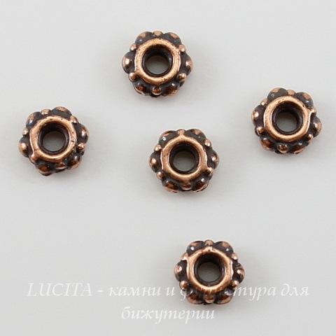 Бусина - спейсер TierraCast 4х2 мм (цвет-античная медь), 5 штук ()