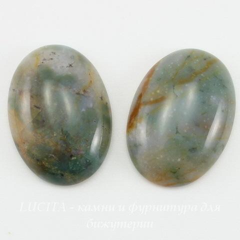 Кабошон овальный Агат Моховой (Индийский) цвет - зелено-голубой 25х18х5,5 мм №2 ()