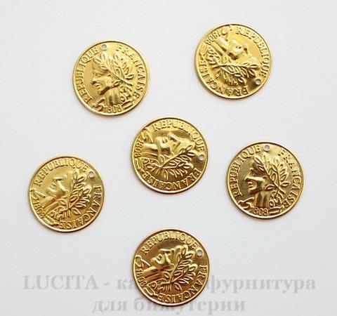 """Подвеска круглая """"Монета"""" 18 мм (цвет - латунь)"""
