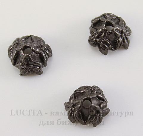 """Шапочка для бусины TierraCast """"Жасмин"""" (цвет-черный никель) 7х4 мм"""