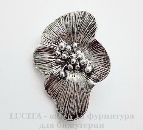 "Подвеска ""Цветок"" (цвет - античное серебро) 44х31 мм"