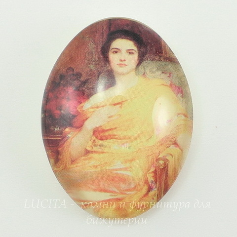 "Кабошон стеклянный  ""Девушка в желтом""  40х30х10 мм"