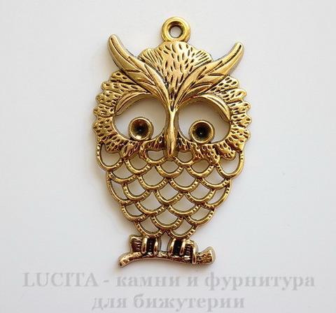 "Подвеска ""Сова"" (цвет - античное золото) 56х36 мм"