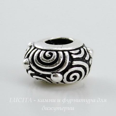 "Бусина - рондель TierraCast ""Спирали"" 11х6 мм (цвет-античное серебро) ()"