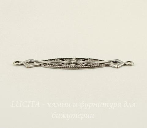 Винтажный декоративный элемент - коннектор (1-1) 37х8 мм (оксид серебра)