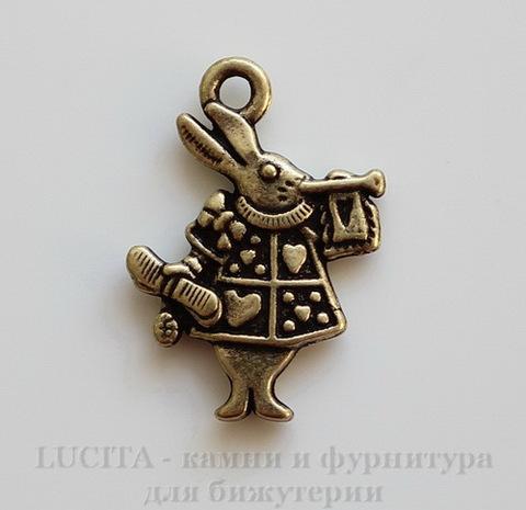 """Подвеска """"Белый Кролик"""" 20х15 мм (цвет - античная бронза)"""