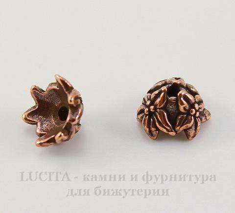 "Шапочка для бусины TierraCast ""Жасмин"" (цвет-античная медь) 7х4 мм"