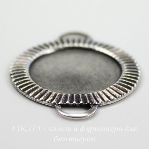 """Сеттинг - основа - коннектор """"Полосатый"""" (1-1) для камеи или кабошона 15 мм (оксид серебра) ()"""