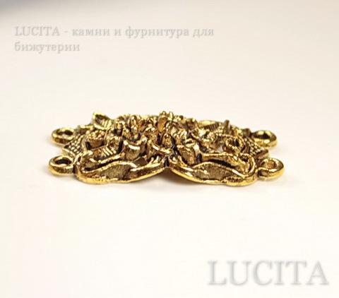 """Коннектор """"Цветы"""" (2-2) (цвет - античное золото) 36х19 мм ()"""