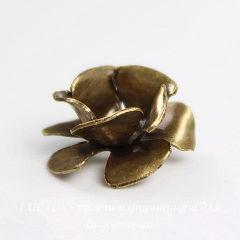 Винтажный декоративный элемент - шапочка с двойными лепестками в виде розы 13 мм (оксид латуни) ()