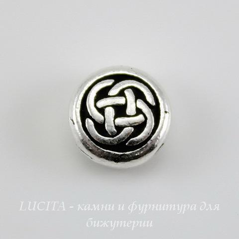 """Бусина круглая плоская TierraCast """"Кельтский узел"""" 7х3 мм (цвет-античное серебро) ()"""