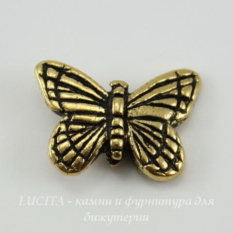 "Бусина TierraCast ""Бабочка"" (цвет-античное золото) 16х11 мм"