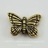 "Бусина TierraCast ""Бабочка"" 16х11 мм (цвет-античное золото)"