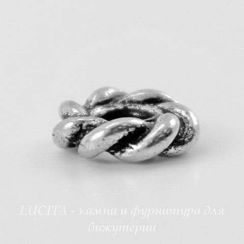 "Бусина - спейсер TierraCast ""Твист"" 7х2 мм (цвет-античное серебро) ()"