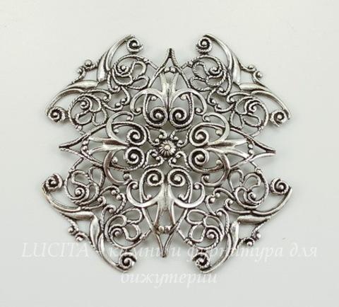 """Винтажный декоративный элемент - филигрань """"Мальтийский крест"""" 47х47 мм (оксид серебра)"""