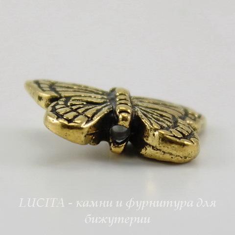"Бусина TierraCast ""Бабочка"" 16х11 мм (цвет-античное золото) ()"