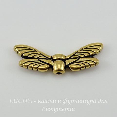 """Бусина TierraCast """"Крылья стрекозы"""" (цвет-античное золото) 20х7 мм"""